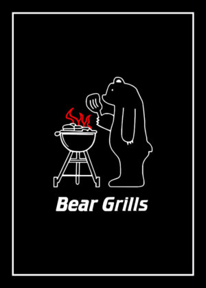 Bear Grills & BBQ Rules tea towel
