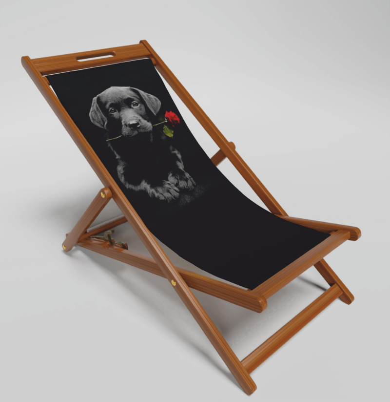 Black Labrador Deck Chair